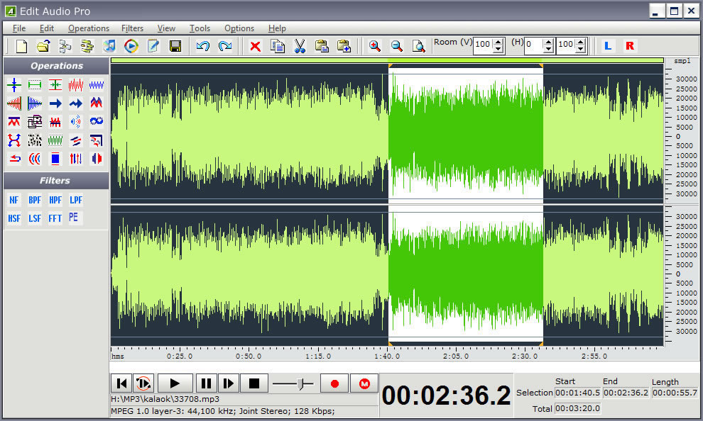 Editing Your Digitized Audio in Myriad Different Ways Screen Shot