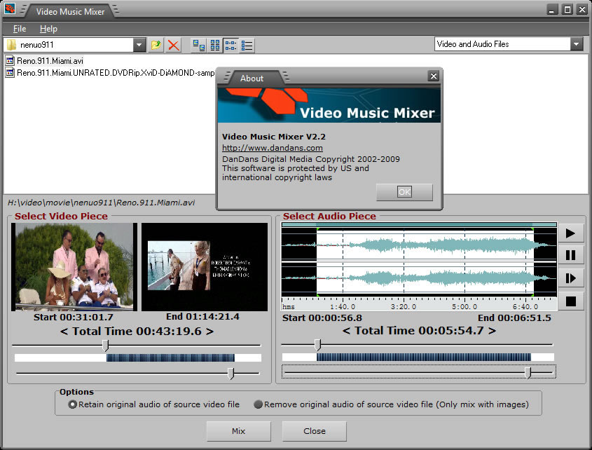 Video music mixer adds your favorite songs into to your personal video records.